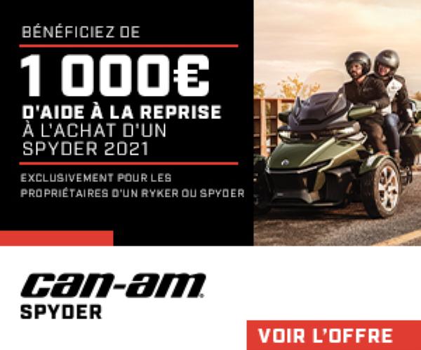 1 000€ d'aide à la reprise à l'achat d'un Spyder 2021 !